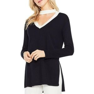 Womens Long Sleeves V-Neck Knit Choker Sweater Top